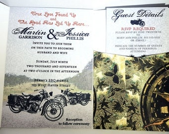 Motorcycle Wedding Invitations, Motor Cycle Invitation, Bike Wedding Invitation, Grunge Wedding Invitation, Bridal Invites Motorcycles Bikes