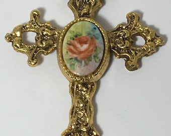 Vintage Cross Pendant Rose Decorated Large Antique Gold Tone