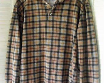 Cotton Plaid Shirt/ Ivy Crew Pullover/ Gray, Tan,Orange, Red Plaid/ Flannel Like Stretch Cotton/Thrifted Retro/ Shabbyfab Unisex Funwear
