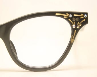 Black rhinestone cat eye glasses vintage 1950s eyewear cateye frames