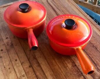 Vintage Le Creuset  / Dutch Oven / Orange / Enamel Cookware / Retro Pot / France / Soup Pot / Farmhouse Kitchen Decor / Set of 2 / Rustic /