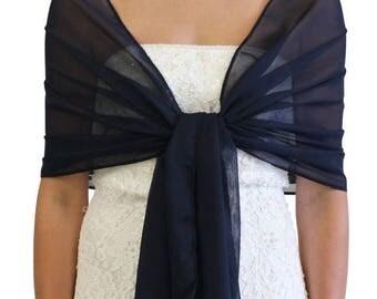 Summer Sale Chiffon Bridal Shawl Prom scarf #8139 Navy Blue on Spring Sale