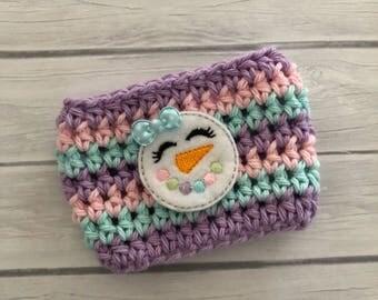 Snowman cup cozy, winter cup cozy, pastel cozy, coffee cup cozy, coffee cozy, crochet cup cozy, coffee cup sleeve, crochet cozy,planner cozy