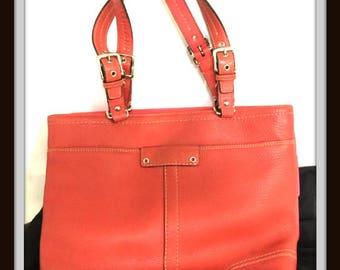 COACH Handbag CORAL NUMBERED! Vintage Leather Adjustable Straps