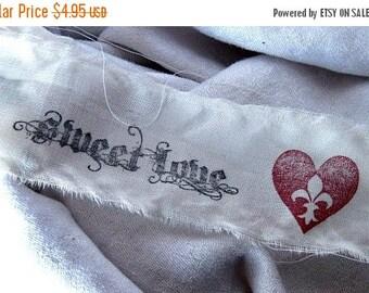 Hand Stamped Fabric Trim - Scrapbooking - Sweet Love - Wedding - Gift Decor