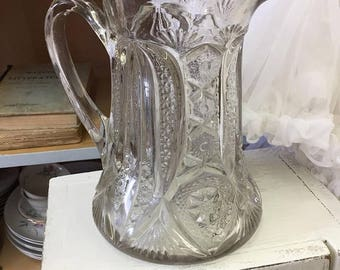 Antique Eapg Pitcher Press Glass Nordic French Cottage Chic