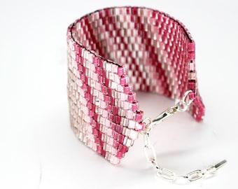 XL Beaded Bracelet in Pink Multicolored in Sterling Silver