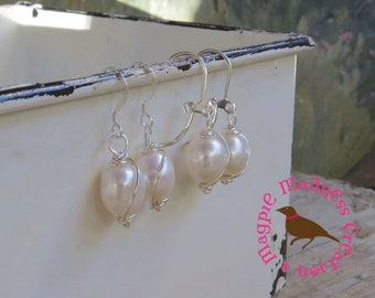 White Pearl Earrings, Wire Wrap White Pearl Earrings, Sterling White Pearl Dangle Earrings, Every day Pearls, by MagpieMadness for Etsy