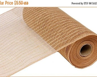 ON SALE 10.5 Inch Natural Jute Poly Mesh RY800518, Deco Mesh Supplies
