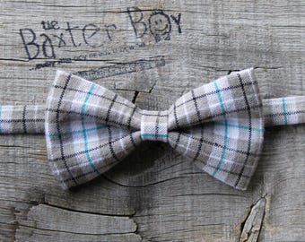 Ready-to-Ship --- SIZE MEDIUM Grey & Teal plaid bow tie, little boy bow tie - pre-tied, photo prop, wedding, ring bearer, accessory