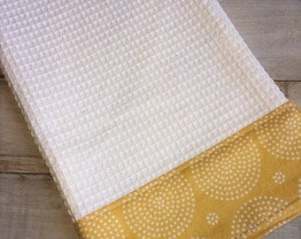 Kitchen Towel, Hand Towel, Tea Towel, Waffle Weave Towel, Dish Towel, Kitchen Hand Towel-Yellow Circles
