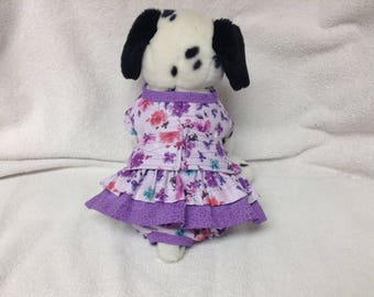 Female Dog Diaper Dress One Piece Pet Wrap Romper Bodysuit Overall Britches Doggie Pants Size xSmall To Large Lavender Floral Print