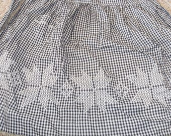 Vintage Black and white Gingham Check Apron