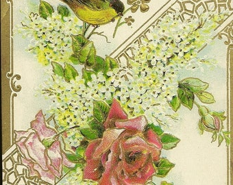 Elegant Feminine Embossed GDD Vintage Postcard Red Rose White Lilacs and Little Bird – May Every Day Be Bright With Morrow Brighter