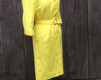 Yellow Anchor print Tailored fitted sheath dress