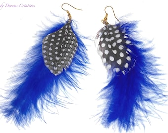Natural partridge feather earrings, blue marabout feathers