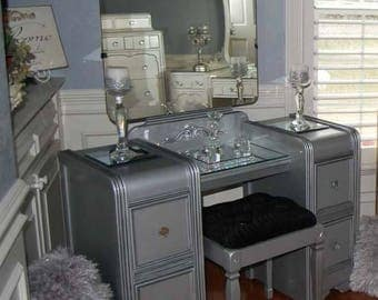 SOLD Vanity Mirror and Bench Waterfall Restyled Silver Metallic with Glaze