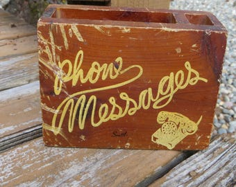 Vintage Seattle Phone Message Holder from the Ole Curiosity Shop Wood Pad and Pen Message Holder with Cute Old Phone Picture Wood and Yellow