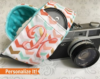 Personalized DSLR Camera Strap, Extra Long, Lens Cap Pockets, Nikon, Canon, DSLR Photography, Photographer - Multi Chevron with Aqua/Coral
