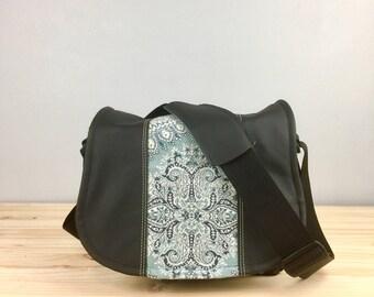 Medium Blue Medallion and Black Leather Camera Satchel Bag DSLR- IN-STOCK