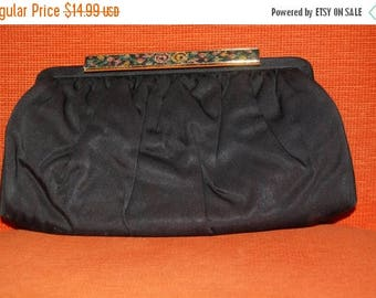 ON SALE 50s 60s Clutch, Purse, French, Black, Silk, Evening Bag, Embroidered Tapestry Clasp