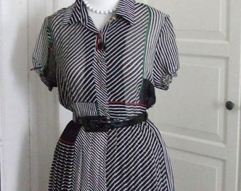 ON SALE 60s Dress, Full Skirt, Sheer, Chiffon, Black and White with Cherry Print, Size S/M