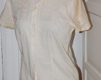 ON SALE 40s, 50s Embroidered Blouse, Cotton, Drawn Work, Shirt, Tea Color, Size Medium