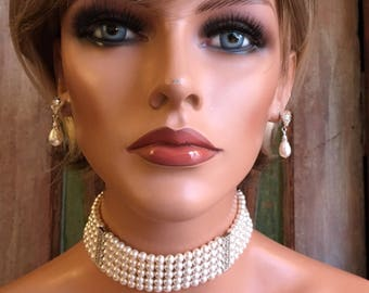 Pearl Choker Necklace 5 multi strands Swarovski Pearls in White or your choice of color Great Gatsby Downton Abbey Art Deco wedding jewelry
