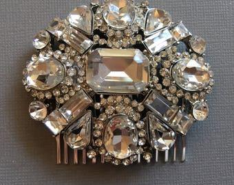 Rhinestone Hair Comb in Clear Crystal with Rhidium sulver setting stunning elegant wedding hair jewelry bridal accessories