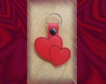 Red Double Hearts Embroidered Key Fob, Key Chain, Luggage Tag, Bag Clip, Vinyl, Key Ring, Purse Charm
