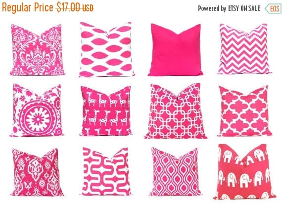 20% Off Sale Hot Pink Pillow Covers - Pink Chevron Pillow Cover - Pink Cushion Covers - Pink and White Decor - Hot Pink Nursery - 18 x 18 -