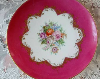 Vintage Porc. Limoges Pate plate Pink White Gold hand painted flowers 10.25 in