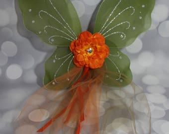 Olive Green Pixie Wings, Girls Fairy Wings, Girl Butterfly Wings, Children's Pixie Wings,  Olive Green Play Wings, Orange   FW1736