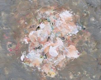 Abstract Flower Encaustic painting Flowers painting Spiritual Art Grey White neutrals Little Spirit  12 x 12