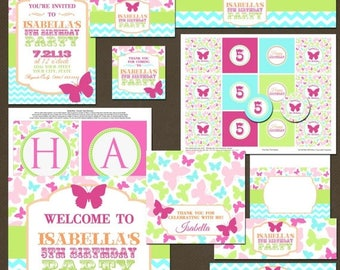 ON SALE Butterflies Girls Birthday Party Package, Printable, DIY