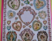 1997 Full Sheet of Victorian Heart and Ladies Stickers by John Grossman