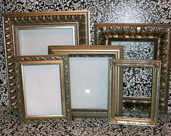 Set of 5 Shabby Chic Ornate Shades of Silver Picture Frames for Gallery Wall, Wedding Decor, Nursery Decor