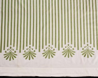 Mid Century 1960s Bed Sheet - Full Size Flat Sheet - Double Bed - Olive Green White Awning Sripe - Pure Smooth Cotton Percale - 49757