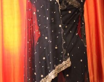 Indian vintage black net long embroidered dupatta . Zardozi scarf. Wedding stole. Hand embroidered scarf. SCM004