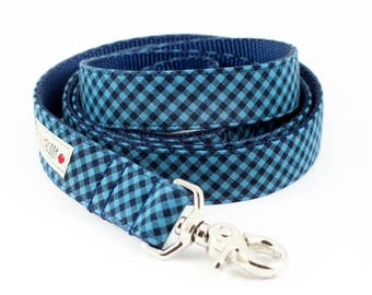 Blue Navy Gingham Dog Leash