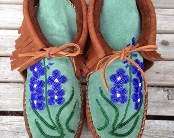 Custom Beaded Leather Moccasins