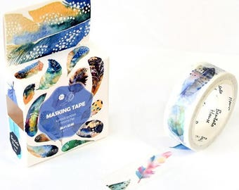 Feather washi tape  kamoi masking for planner scrapbook journal decorate craft swap mail package stationery - Lillibon