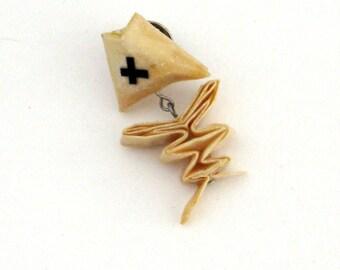 origami fish bone pin/brooch