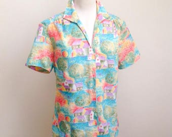 Novelty impressionist scene print blouse / 1980s does 50s printed scenic top - M L