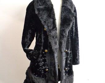 1960s Black velvet & faux fur double breasted coat / 60s fitted princess coat - M L