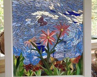 "Stained Glass Mosaic Vintage Window  ""Summer Breeze"" 24x26"" overall"