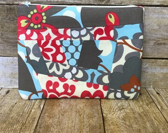 Large Patchwork Zipper Pouch - Amy Butler Lotus Fabrics Red and Blue - Zippered Clutch - Morning Glory and Wallflower