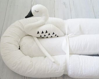 Snake Pillow , Baby Bumper , White Crib Bumpers , White Lace Baby bedding , Bumper Bed Pillow