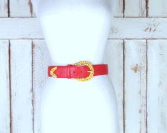 Vintage 90s Jones Wear wide red leather belt/gold metal buckle belt/small