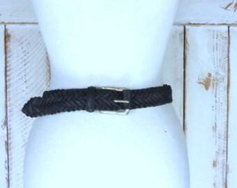 Vintage 90s black woven leather belt/braided black leather/30